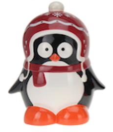 Skarbonka Pingwin 23 cm - ciemnoczerwona czapeczka